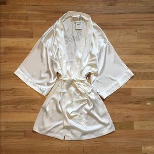 Victoria's Secret BRIDE silk white robe.